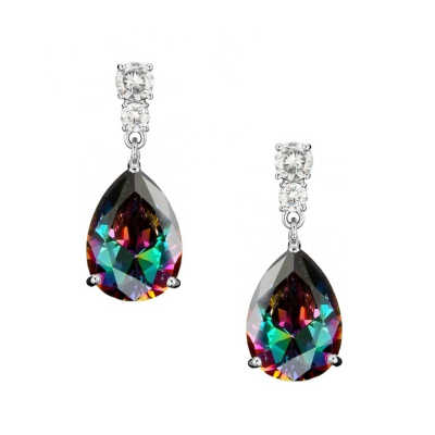 CUBIC ZIRCONIA COLLECTION - DAINTY RAINBOW CRYSTAL DROP EARRINGS -CZER560