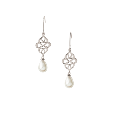 ATHENA COLLECTION - CELTIC KNOT BRIDAL EARRINGS - SILVER (CZER456)
