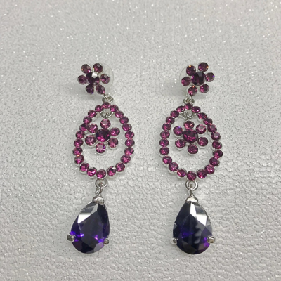 SALE ITEM - Crystal drop Earrings - Amethyst (45)