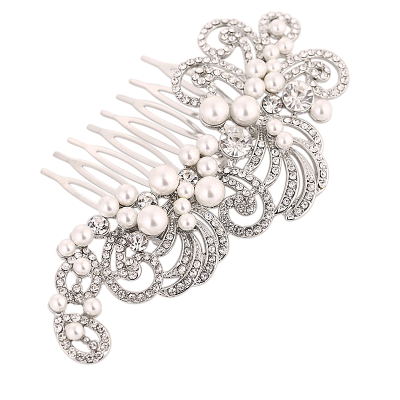 ATHENA COLLECTION - VINTAGE CHARM HAIR COMB - HC167 SILVER