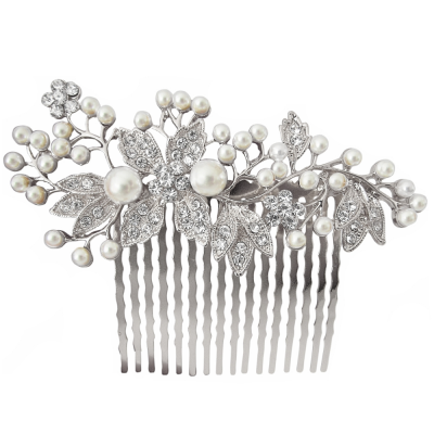 ATHENA COLLECTION - VINTAGE PEARL COMB - HC176 SILVER