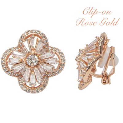 CUBIC ZIRCONIA COLLECTION - CRYSTAL GLAM CLIP ON EARRINGS - CZER396 (CLIP ON ROSE GOLD)