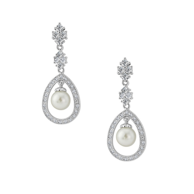 CUBIC ZIRCONIA COLLECTION - SIMPLY DIVINE EARRINGS - SILVER (CZER415)