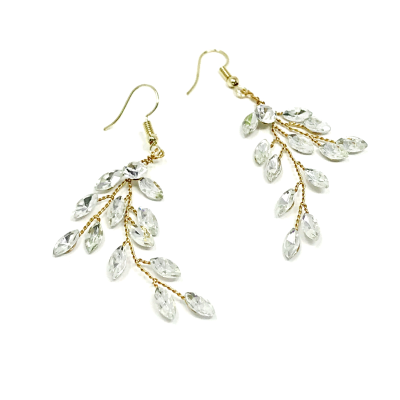 ATHENA COLLECTION - CRYSTAL VINE EARRINGS - (ER487) GOLD