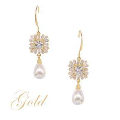 CUBIC ZIRCONIA COLLECTION - VINTAGE TREASURE EARRINGS - CZER575 GOLD