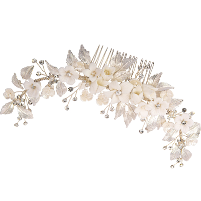 ATHENA COLLECTION - FLORAL EXTRAVAGANCE HAIR COMB - SILVER (HC200)