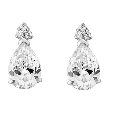 CUBIC ZIRCONIA COLLECTION - CRYSTAL SHIMMER EARRINGS - CZER543 SILVER