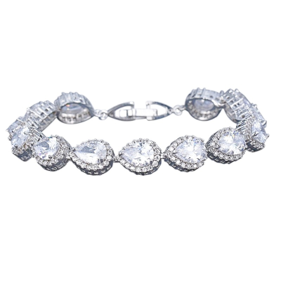 CUBIC ZIRCONIA COLLECTION - EXQUISITE CRYSTAL TREASURE BRACELET - CZBRA27 (SILVER)