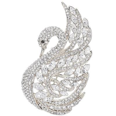 Crystal Swan Brooch - Clear (Brooch 113)