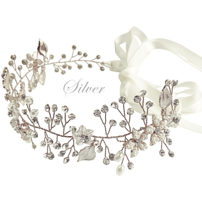 ATHENA COLLECTION - CRYSTAL ELEGANCE HAIR VINE - HP152 SILVER