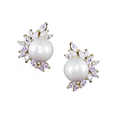 CUBIC ZIRCONIA COLLECTION - DAZZLING PEARL EARRINGS - CZER428 (GOLD)