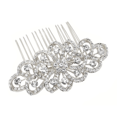 ATHENA COLLECTION - CRYSTAL SWIRL HAIRCOMB - HC189 SILVER