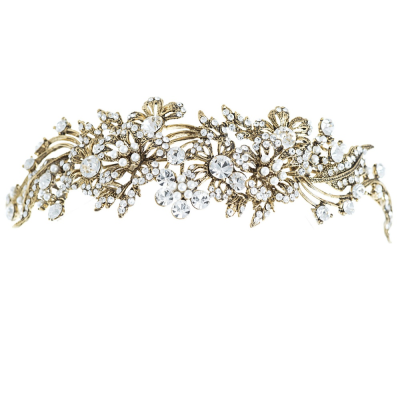 ELITE COLLECTION - Enchanting Pearl Tiara - Tiara 12 (ANTIQUE GOLD)
