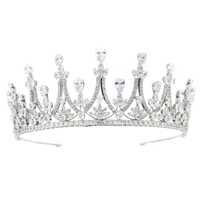 CUBIC ZIRCONIA COLLECTION - REGAL COUTURE TIARA - AHB68