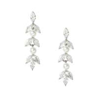 CUBIC ZIRCONIA COLLECTION - DAINTY PEARL SPARKLE EARRINGS - CZER453 SILVER