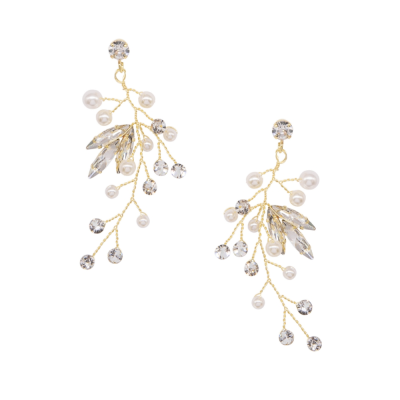 ATHENA COLLECTION - CASCADES OF PEARL EARRINGS - CZER583  GOLD