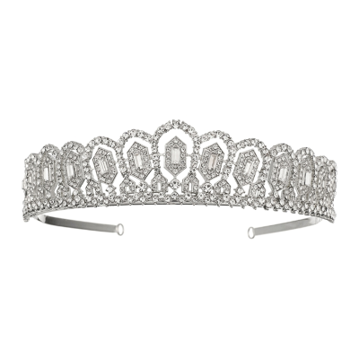ATHENA COLLECTION - CRYSTAL SPARKLE TIARA - SILVER - AHB31