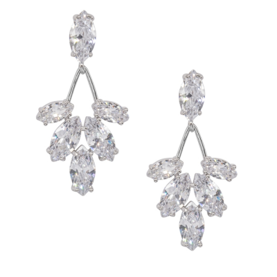 CUBIC ZIRCONIA COLLECTION - DAINTY SPARKLE EARRINGS - SILVER CZER527