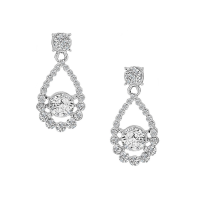 CUBIC ZIRCONIA COLLECTION - DAINTY CRYSTAL EARRINGS - (CZER422) SILVER