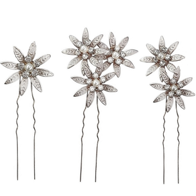 ATHENA COLLECTION - CRYSTAL BEJEWELLED HAIR PINS - SILVER  (PIN 34)