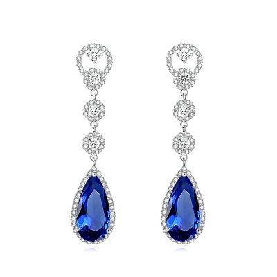 CUBIC ZIRCONIA COLLECTION - CRYSTAL LUXE EARRINGS - CZER516 (SAPPHIRE BLUE)