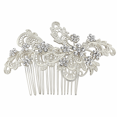 SASSB COLLECTION - LIZA EXQUISITE HAIRCOMB  HC32-SILVER