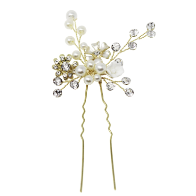 ATHENA COLLECTION - ETERNALLY PEARL HAIR PIN - PIN 36 GOLD