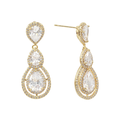 CUBIC ZIRCONIA COLLECTION - CRYSTAL TREASURE EARRINGS - CZER430 GOLD