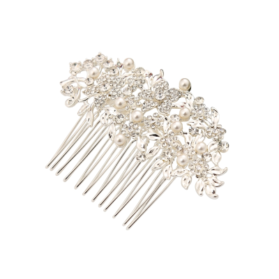 ATHENA COLLECTION - VINTAGE CHIC PEARL COMB -HC190 SILVER