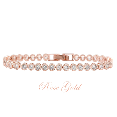 CUBIC ZIRCONIA COLLECTION - SHIMMERING CRYSTAL BRACELET - (CZBRA32) ROSE GOLD