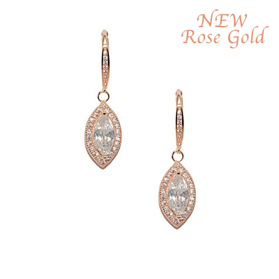 Cubic Zirconia Collection - Dainty Crystal Drop Earrings - ROSE GOLD CZER362 (ROSEG)