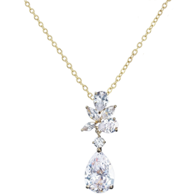 CUBIC ZIRCONIA COLLECTION - EXQUISITE STARLET NECKLACE - CZNK90 - GOLD