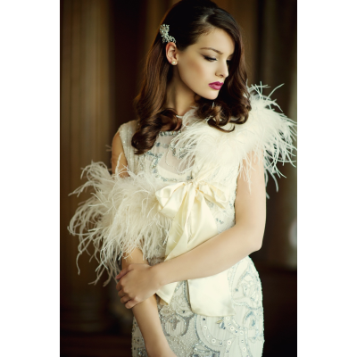 Ostrich Feather Stole - IVORY SASSB-SG4