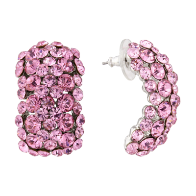 ATHENA COLLECTION CRYSTAL CLUSTER EARRINGS - LIGHT ROSE