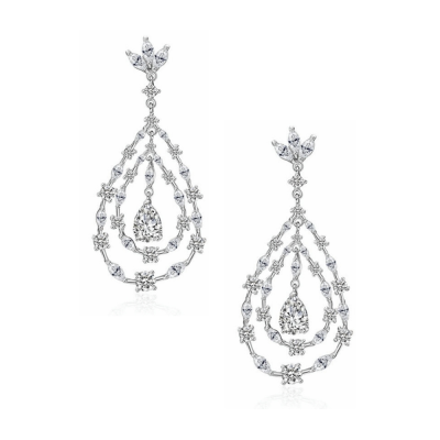 CUBIC ZIRCONIA COLLECTION - CRYSTAL GLAM EARRINGS - CZER498