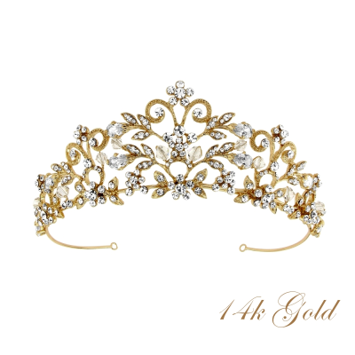 ROCHELLE ENCHANTMENT TIARA - 14K -  SASSB TIARA 14k GOLD PLATED