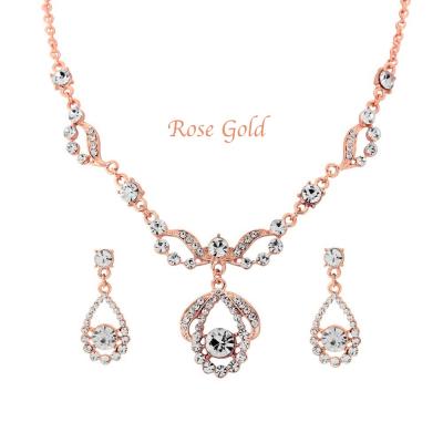 Crystal Bridal Necklace Set - ROSE GOLD (Nk195RG)