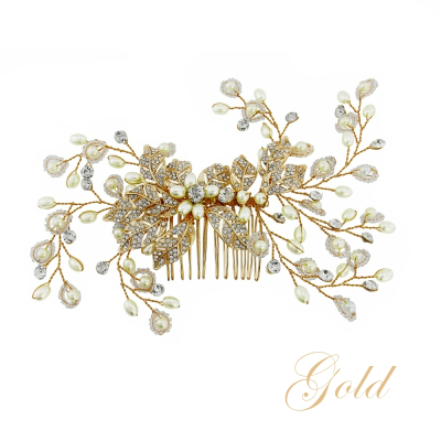 ATHENA COLLECTION - CRYSTAL EXTRAVAGANCE HAIR COMB - HC152 ( GOLD)