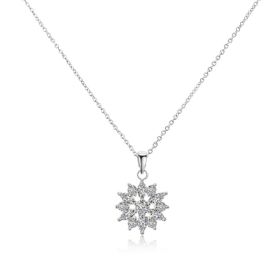 CUBIC ZIRCONIA - CRYSTAL SPARKLE NECKLACE - CZNK87 SILVER