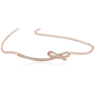 CUBIC ZIRCONIA COLLECTION - CRYSTALLURE BOW NECKLACE - CZNK115 ROSE GOLD