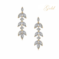 CUBIC ZIRCONIA COLLECTION - DAINTY DROP SPARKLE EARRINGS - CZER452 GOLD