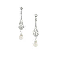 CUBIC ZIRCONIA COLLECTION - VINTAGE CRYSTAL DROP EARRINGS - CZER496 SILVER