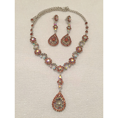 SALE ITEM - LARGE STATEMENT NECKLACE SET - ROSE PINK - (517)