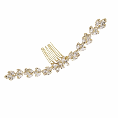 ATHENA COLLECTION - CRYSTAL GLAM HAIR COMB - HC196 LIGHT GOLD