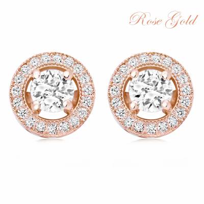CUBIC ZIRCONIA COLLECTION - CZ CRYSTAL CLIP-ON EARRINGS - CZER435 ROSE GOLD