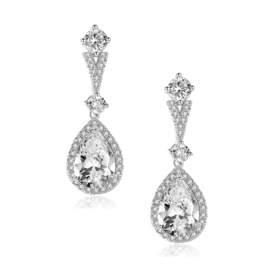 CUBIC ZIRCONIA COLLECTION - GRACEFUL SHIMMER EARRINGS - CZER552 SILVER
