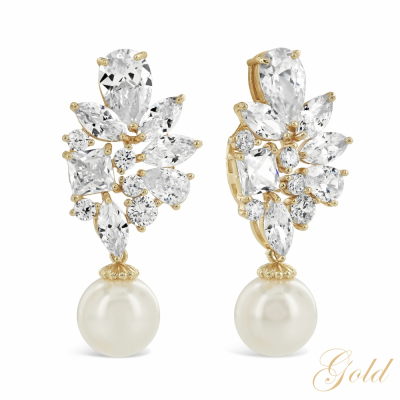 CUBIC ZIRCONIA COLLECTION - MAJESTIC EARRINGS - CZER347 GOLD