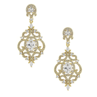 CUBIC ZIRCONIA COLLECTION - STARLET'S CRYSTAL TREASURE EARRINGS - CZER410 ( GOLD)