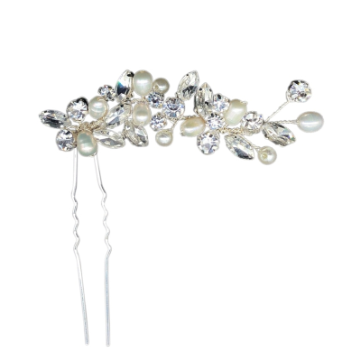 ATHENA COLLECTION - FRESHWATER PEARL PIN - PIN37 SILVER