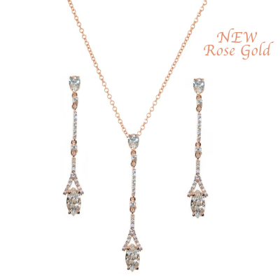 CUBIC ZIRCONIA COLLECTION - DAINTY SPARKLE NECKLACE SET - CZNK60 ROSE GOLD